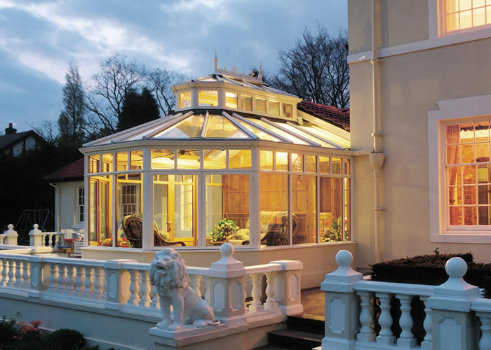 A brightly lit conservatory
