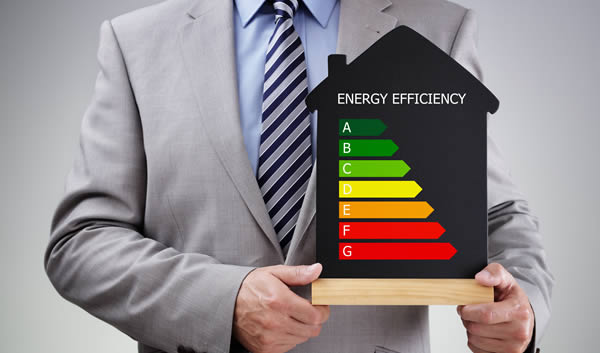 A man holding an energy rating graphic